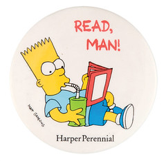 "1991 Bart Simpson ""Read, man!"" button (Tom Simpson) Tags: bartsimpson thesimpsons 1991 1990s vintage button reading book readman illustration art pin"