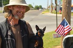 Randy and Rocky (radargeek) Tags: okc oklahomacity oklahoma ok american flag panhandling bethany