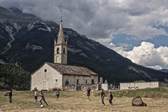 Boys playing football. Vanoise. French Alps. France. 2010/07. (joelgambrelle) Tags: summer football childhood france frenchalps alpes nikond50