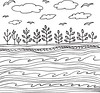 Summer sea and sky with clouds and birds (d.em_ver) Tags: outdoor page wallpaper decoration print natural bird coloring cloud white monochrome day line adult vector summer morning drawing black wavy abstract wave ink season doodle fantasy zen decorative design plant sketch marine sky kid draw sea style child water fairy branch nature book hand tale landscape ocean zendoodle childre lineout