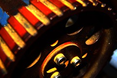 Machinery (EmilyBauer99) Tags: contrast saturation macro closeup bright colour cogs red yellow nikon filltheframe depthoffield aperture orange