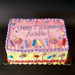 Sweet as Candy 1st Birthday 300206 (Creative Cakes - Tinley Park) Tags: sweet candy multicolored airbrush first one 1 birthday girl