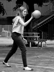Four-Square Game 32 (C & R Driver-Burgess) Tags: boys girls teens preteens ball court trees leaves bounce pass reach jump school kids children fun game leap socks shoeless cotton cropotop blonde black skinny jeans bench tree trunk stairs