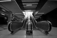 escalator (rafasmm) Tags: lodz łódź poland polska europe city citycenter escalator railway station blackwhite bw monochrome