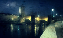 Verona, Castelvecchio like a paint (vittorio.chiampan) Tags: fineart art italy verona castle river bridge night lights