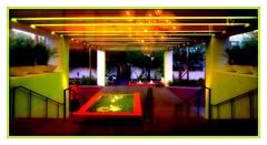 sundown check in (milomingo) Tags: saguarohotel scottsdale arizona southwest hospitality design driveup light dark neon green contrast bold vivid vibrant architecture line linear geometry frame photoborder reflection ball circle sphere stylized