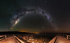 Milky Way & Thrombolites - Lake Clifton, Western Australia (inefekt69) Tags: cosmology mandurah lake clifton 11mm southernhemisphere cosmos southern perth westernaustralia australia dslr longexposure rural 50mm didymium hoya redenhancer tokina 1116mm d5500 nightphotography nikon stars night astronomy space galaxy astrophotography lakeclifton water thrombolites outdoor milkyway core great rift msice panorama geology ancient sky explore explored