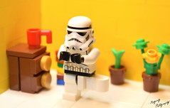 Yoga Trooper (RagingPhotography) Tags: lego star wars galactic empire imperial stormtrooper trooper yoga simple bright colorful funny humor laugh ragingphotography