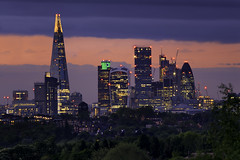 Pink City Towes (JH Images.co.uk) Tags: heron tower 42 gherkin shard london skyline skyscrapers dusk trees hdr dri night pink clouds architecture