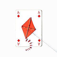 ace of diamonds (brescia, italy) (bloodybee) Tags: 365project playingcards cards play game a ace diamonds kite humor fun stilllife white red square string ribbon tail fly toy