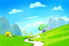 Creative Illustration and Innovative Art: Clean Green Hill with Road to the Mountain. Realistic Fantastic Cartoon Style Artwork Scene, Wallpaper, Story Background, Card Design (wallmistwallpaper) Tags: art artwork asset background beautiful blue card cartoon child clear cloud collage cute design drawing fancy fantastic field fine flower forest game grass green greeting hill illustration image kid land landscape lovely mountain nature paint path peak plant road scene set sky tree wallpaper water wild wildflower wish wonder world