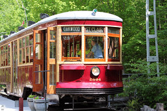 TTC streetcar 2894 (closer-up) (Can Pac Swire) Tags: halton county co radial railway museum openair working rockwood milton ontario canada canadian 13629 guelphline 2016aimg3862 meadowvale station stop 47 shelter old historical historic restored preserved 2894