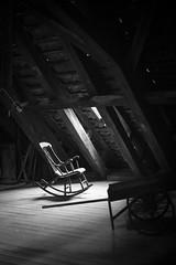 Rocking chair (Mister Rad) Tags: nikond600 nikon50mmf14 denmark copenhagen københavn blackandwhite chair light loft trinitatiskirke