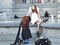 Trafalgar Square Angel (Waterford_Man) Tags: girl photoshoot london people photographer candid street winter white
