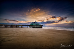 Blankenberge Pier III (Alec Lux) Tags: hdr hdrphotography beach belgium blankenberge breakwater clouds groyne landscape landscapephotography nature naturephotography ocean pier pontoon scenic sea seascape seascapephotography sky sunlight sunset water waves