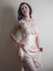 Porcelain Satin Doll (Pennant) Tags: intimate pink purple lace mesh garters vintage pearls slip fischer satin necklace stockings bracelet