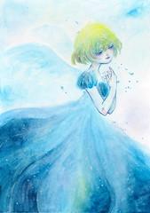 Blue Angel2 (Yukino.suzu) Tags: angel blue girl watercolor illustration illustratiion