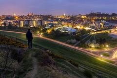 Glowing City (Kyoshi Masamune) Tags: edinburgh edinburghcastle holyroodpark holyrood caltonhill balmoralclock balmoralhotel uk scotland kyoshimasamune longexposure ultrawideangle wideangle bluehour lighttrails citypanorama cityscape