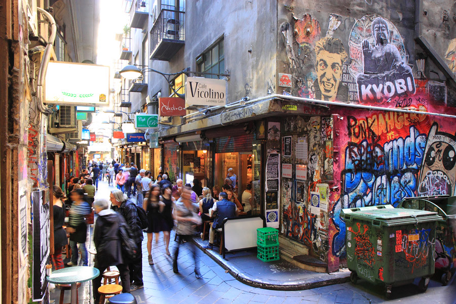 Melbourne's Centre Place is well known for its cafes and graffiti