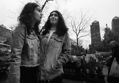 Blue Jean Twins (Brian Gilbreath) Tags: ifttt 500px portrait city people street travel bw urban film ny black white style monochrome 35mm new york nyc photography blackandwhite streets jeans manhattan candid twins streetstyle streetphotography trendy newyorkcity gothamist