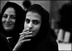 BEFORE - Smoking - Tehran, Iran (robinlawrenceoien) Tags: lady girls girl iran iranian blackandwhite baw bw smoking beauty scarf beautiful white black park people