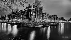 Amsterdam. (alamsterdam) Tags: canal brouwersgracht herengracht longexposure reflection amsterdam bridge evening architecture houseboats