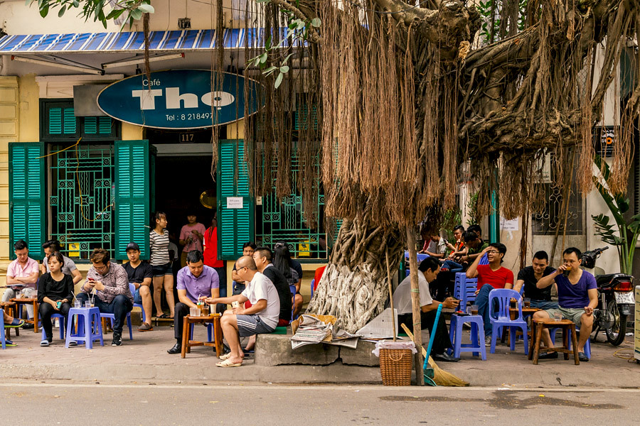 A typical local cafe in the streets of Vietnam's cities