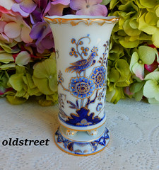 Meissen Porcelain Footed Vase ~ Cobalt Blue Gold Birds Butterfly Insect (Donna's Collectables) Tags: meissen porcelain footed vase ~ cobalt blue gold birds butterfly insect