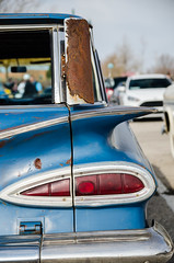Winged wagon (GmanViz) Tags: gmanviz color car automobile detail nikon d7000 columbuscarscoffee ccc 1959 chevrolet stationwagon tailfin taillight bumper tailgate