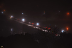 On a foggy night (Otacílio Rodrigues) Tags: noite neblina fog luzes lights ponte bridge rio river reflexos reflections água water urban cidade city árvores trees resende brasil oro topf25 nightshoots