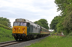 "50008 ""Thunderer"" - Eardington (Andrew Edkins) Tags: class50 50008 thunderer hoover vac eardington railwayphotography preservedrailway trip intercity severnvalleyrailway may 2017 summer englishelectric geotagged canon svr shropshire uk type4 trees crossing"