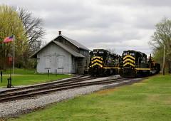 Meeting at the Depot (JayLev) Tags: indiananortheastern pleasantlake train station depot meet siding