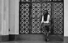 Away (burnt dirt) Tags: houston texas downtown city town mainstreet street sidewalk corner crosswalk streetphotography fujifilm xt1 bw blackandwhite girl man woman people person couple pair group crowd walking talking standing looking boots heels stilettos sandals model photographer camera lens dress skirt shorts glasses sunglasses purse bag phone cellphone pose longhair shorthair ponytail kneehigh blonde brunette headphones cap hat asian friends bike bicycle prom lovers