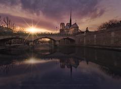 Postales de Notre Dame (sgsierra) Tags: notredam paris atardecer sunset sena sun star sol reflejo
