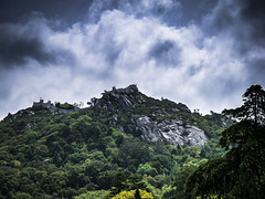 Castle of the Moors in the storm (Lanceflot) Tags: sintra lisbon portugal south europe castle building architecture middleage medieval moors religion cloud sky storm dark tree green tower crenel knight muslim christian gx80