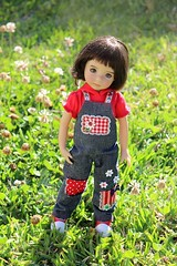 Sewing for Little Darlings... (dambuster01) Tags: littledarling diannaeffner handpainted sewingbysharoninspain overalls appliqued vinyl doll 1sculpt