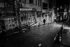 Night View (.Sabbracadabra.) Tags: street geometry istanbul fujifilm 16mm xt2 night dark contrast light man alone walk old new city life streetphoto bnw mono monochrome lowlight art bw black blackandwhite grey acros