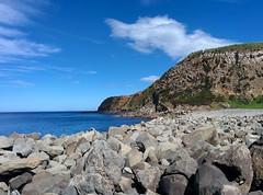 Coast of Terceira (CarlosLuso) Tags: azores açores trail walking trilho trilhos portugal caminhar caminhadas baías agualva terceira island sky cloud cloudy blue stone green mountain rock coast sea ocean atlantic