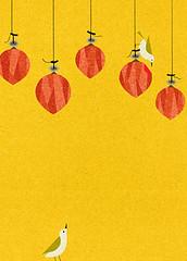Japanese persimmon and Japanese white-eye (Japanese Flower and Bird Art) Tags: flower persimmon diospyros kaki ebenaceae bird whiteeye zosterops japonicus zosteropidae ryo takemasa modern digital print japan japanese art readercollection