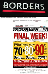 Borders sale CLOSING email received 9 8 2011 3 pics fused (Monte Mendoza) Tags: borders books bankruptcy goingoutofbusiness closeout outofbusiness bookstore
