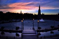 Plaza de España (Biolchini) Tags: spain espanha seville sevilla sevilha plazadeespaña plazadeespana sunset