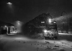 Morning train (Karma2c) Tags: train snow storm night station amt