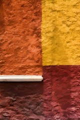 SOUTH OF THE BORDER (Irene2727) Tags: colors wall texture four orange yellow white brown lines abstract urban city mexico sanmigueldeallende