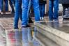 blue jeans (pawel.strzyz) Tags: canon 600d poznan poznań oldmarket 70210 jeans blue refelections rain wet stairs legs people cobblestone
