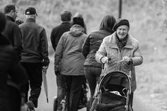 Happy Granny (Frank Fullard) Tags: frankfullard fullard candid street portrait granny gran grandchild stroller buggy castlebar mayo loughlannagh smile happy monochrome blackandwhite irish ireland childminding childminder