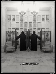 Faceless Gate Keepers (PhotoJester40) Tags: indoors inside cloak faceless guardians mausoleum amdphotographer male males bnw blackandwhite selfie