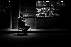 Coffee (㋡ Aziz) Tags: coffe light dark night lowlight mono leica fujifilm fuji 35mm bw blackandwhite street streetart new old city kahve gece karanlık sb siyah beyaz insan sokak man alone single chair metal shadow art