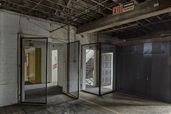 Exit This Way Out (billmclaugh) Tags: theshoefactoryantiquemall lebanon ohio shoes manufacturing brick windows industry industrial warehouse reznor spaceheaters antiques canon 5dmiii 24mmtse tiltshift highdynamicrange hdr adobe photoshop lightroom photomatix on1