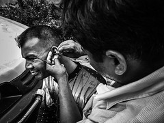 Ear cleaner (Shadman241091) Tags: ear cleaner business client street earning expression face blackandwhite road streetshot streetphotography mobileshot oneplus3 chittagong bangladesh