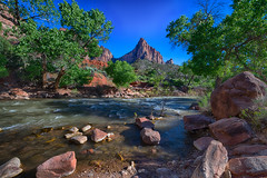 The Watchman (moerden68) Tags: zionnationalpark zioncanyon sonya7ii zeissdistagont15mmf28zf2 superwideangle redrock watchman virginriver utah parustrail zeiss ilce7m2 bluesky rocks trees landscape nature nationalpark whitewater stream